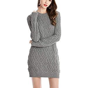 AGZDQTWVHerbst Winter Dickes Warmes Kleid Frauen SexyOansatzKleid WeiblicheLangarm Strickkleid