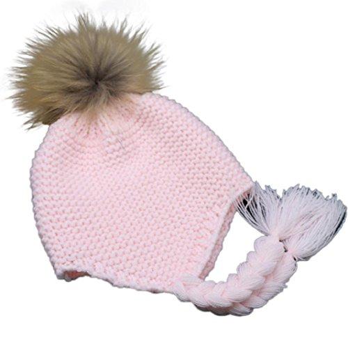 Longra Kleinkind Baby Earmuffs gestrickte warme Winter Baby Jungen Mädchen Kappe (Rosa)