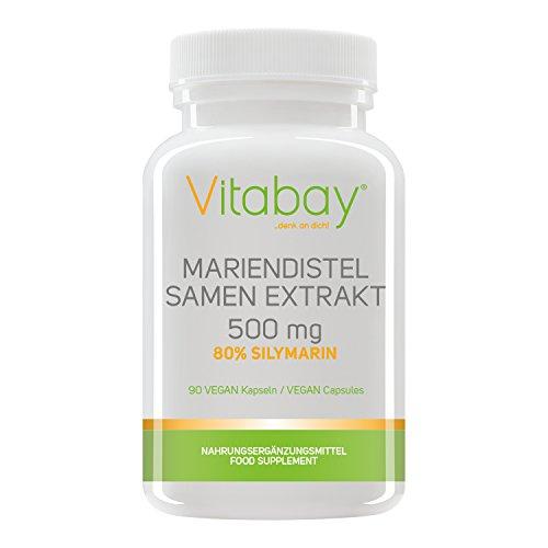 Mariendistel Samen Extrakt 500 mg - 80% Silymarin (400 mg) - frei von Trennmitteln und Füllstoffen - Detox durch Silymarin (90 Kapseln)