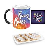 "YaYa Cafeâ""¢ Holi Sweets Gift Combo Rang Barse Mug, Coaster, Kaju Katli - 500 gm"