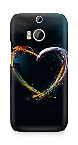 Amez designer printed 3d premium high quality back case cover for HTC One M8 (Heart colorful lines shapes)