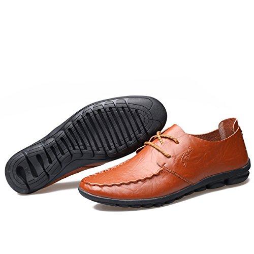 GRRONG Chaussures En Cuir Véritable Pour Homme Loisirs Mode En Cuir brown
