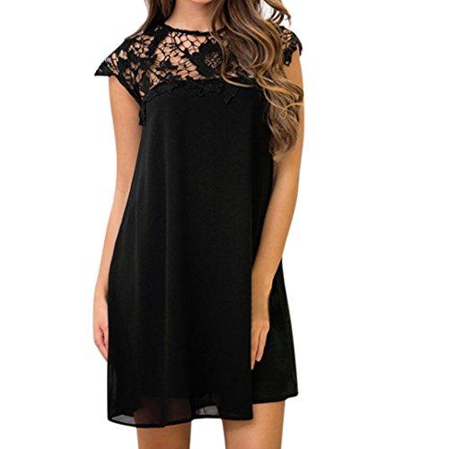 Frauen Halfter Kleid, Sexy Spitze Crochet Knit Schleife Mini Kleid Party Kurzes Kleid axchongery 2XL B -