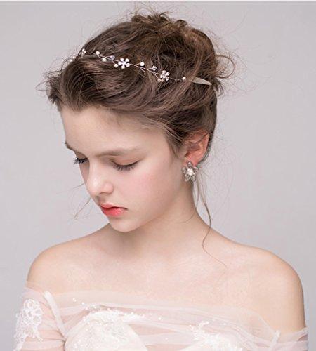 Dayiss Süß Braut Haarschmuck Blumen Diademe mit Kristall Perlen Hochzeit Vintage Silber und Gold (Silber) - 6
