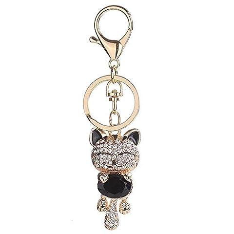 Luyee Fashion cute cute Lucky cat keyring (black)