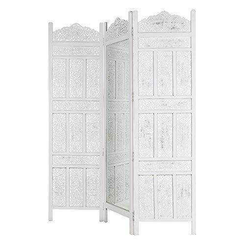 Biombo con Espejo de Madera Blanco árabe para Dormitorio Arabia - LOLAhome