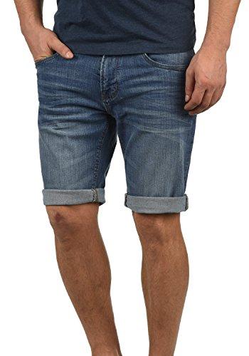 Indicode Quentin Herren Jeans-Shorts Kurze Hose Denim aus Hochwertiger Baumwollmischung Stretch, Größe:M, Farbe:Medium Indigo (869)