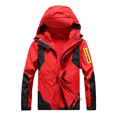 MOTOCO Herren Damen Softshell Jacke mit Kapuze Outdoor Sport Winddicht Wasserdicht Liner Abnehmbarer Unisex Mantel Mit Reißverschluss(XL,Rote Frauen)