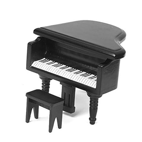 Gazechimp 1/12 Mini Piano Bois Avec Selle Dollhouse Ornement Jouet