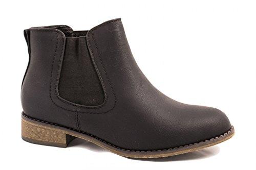 Elara Damen Chelsea Boots | Bequeme Flache Stiefel | Lederoptik Stiefeletten, (Frauen Für Billig Boots Schwarz)