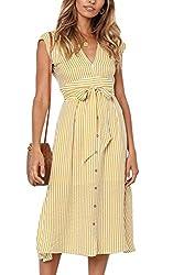 ECOWISH Sommerkleider Damen V-Ausschnitt Gestreift Kleid Ärmellos Midikleid Casual Swing Strandkleid mit Knöpfen Gelb L
