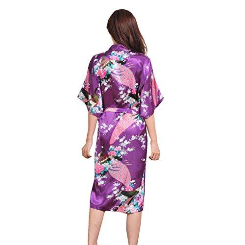 Honeystore Damen lange Kimonos für Damen Bademantel aus Satin mit ...