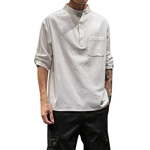 REALIKE Herren T-Shirt Lange Ärmel mit Taschen Mode mit Knopfleiste & Hemdkragen Unterhemden Top Einfarbig Muskelshirt Fitness Oberteile Basic für Männer bis Größe M-5XL -