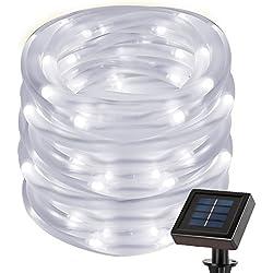 Cuzile Lampes solaires de corde 50LED Blanc Guirlande lumineuse tube Capteur de lumière Décoration pour sapin de Noël Mariage Fête Jardin Pelouse Patio de Thanksgiving