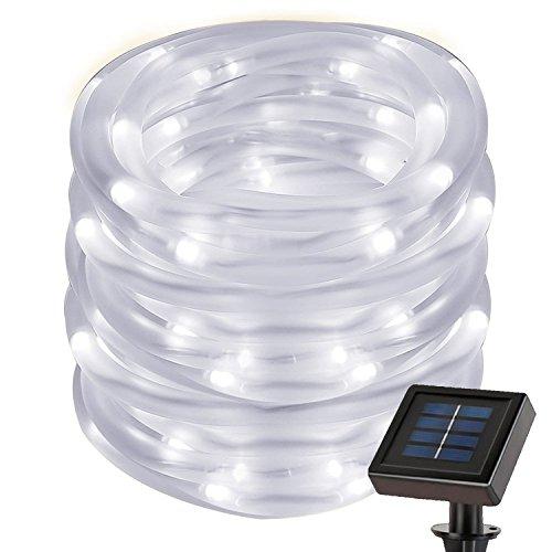 cuzile Manguera LED Solar 7m 50 LED Resistente al agua IP55 Tiras de LED de exterior, Sensor de luz, Blanco frío Decoración para Navidad, Fiestas, Bodas, Patio, Dormitorio, Jardines, Festivales
