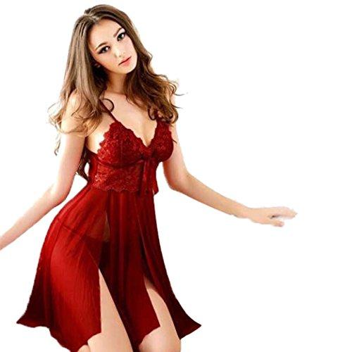 Dessous Sexy Damen Unterwäsche Babydoll Lace Dress G-String Nightwear (XS - M, Rot) (Dessous Chemise Intimen)