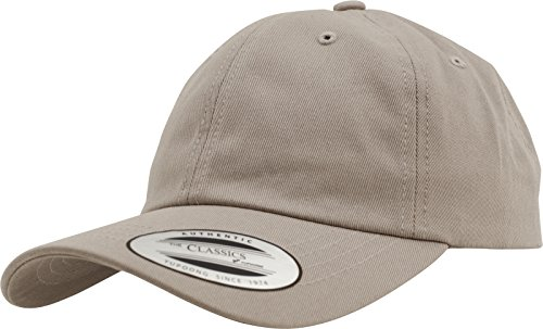 Flexfit Yupoong Low Profile Cotton Twill Unisex Dad Hat Cap für Damen und Herren, 6 Panel Baseball Cap Unstructured mit Messingverschluss, Khaki, One Size