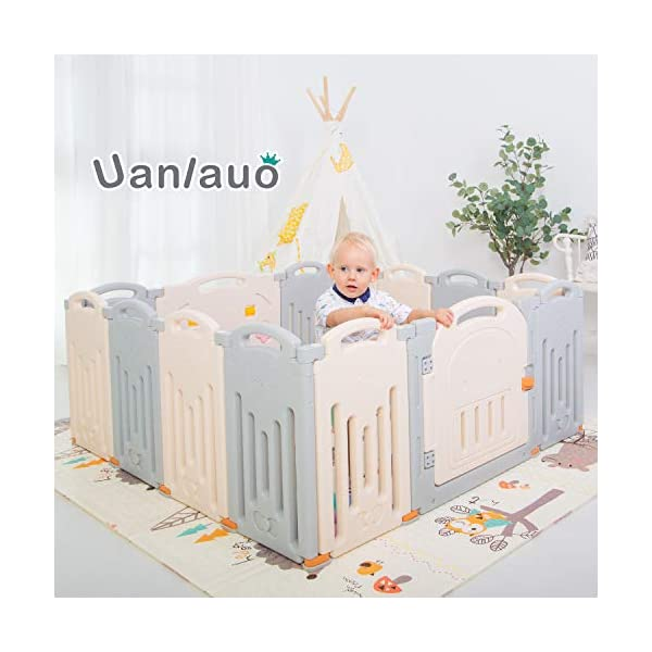 Foldable Baby Playpen Kids Activity Centre Safety Play Yard Home Indoor Outdoor Grey Uanlauo 🥉FOLDABLE & PORTABLE: Easy to storage and can be fold outdoor/indoor; Sturdy holding Rubber anti-slip pad so the yard won't go sliding around. 🥉MOM'S LIFESAVER: Keep baby safe in the baby gate there play centre when mom/dad needs to cook, clean up, do some housework, etc. 🥉Safty&Durable:BPA free Give your baby the closest contact, HDPE Material is more durable. 3