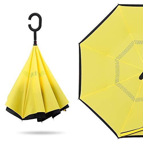 Parasol Straight Double-Decker Reverse Umbrella Free Umbrella Yellow 23 Zoll * 8 Knochen