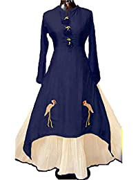 Fkart Women's Cotton Blue Embroidered Stitched Stylish Party Wear Kurti With Inner Lehenga
