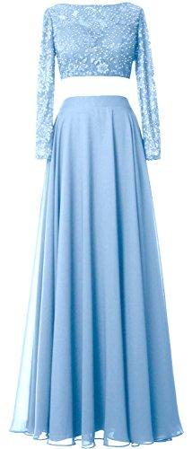 MACloth Women 2 Piece Long Sleeve Prom Dress Lace Chiffon Formal Evening Gown Himmelblau