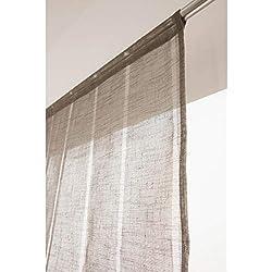 RideauDiscount Voilage Vitrage 90 x 190 cm Passe Tringle Tissu Léger Effet Gaze de Lin à Rayures Verticales Style Naturel Marron Poivre