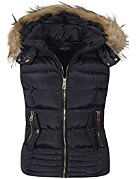 165bfba5a26 shelikes Womens Ladies Fur Hood Body Warmer Quilted Padded Navy Black Wine  Gilet Size