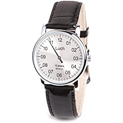 Single Hand LUCH Mechanical Wristwatch. Silver Dial. Chrome. 37471762