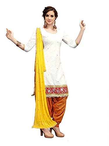 Clothfab Women\'s Cotton Semi-Stitched Patialas Salwar Suit Dress Material (Shila-Off-White-1007_Free Size)