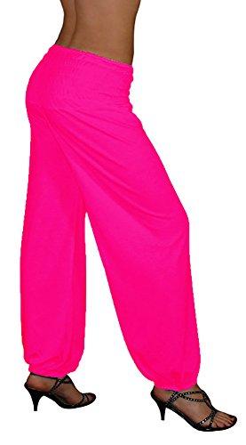 S&LU tolle Damen Haremshose, Pluderhose in 4 Größen - !NEU! Jetzt auch im Camouflage-/Tarn-Design !NEU! - von XXS bis XXXXXXL (6XL) wählbar (EinheitsgrößeXXL-5XL, Neon-Pink) (Übergröße Urlaub Kostüm Frauen)