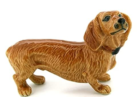 3 D Ceramic Toy Brown Dachshund Dog size M1 Dollhouse Miniatures Free Ship