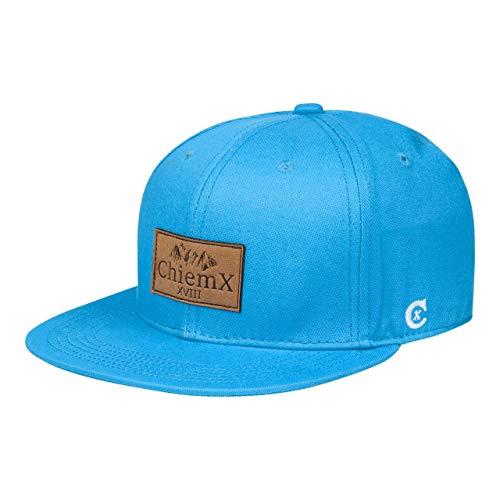 ChiemX Snapback Cap - Türkis - aus Baumwolle und mit Kunstlederpatch - One Size Kappe für Herren und Damen