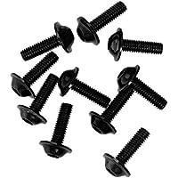10x Tornillos Pernos Marco de Matrícula Aluminio Decorativos Cubren 16x5mm / 20x6mm - Negro 20x6mm