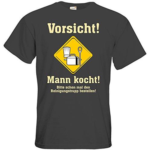 getshirts - RAHMENLOS® Geschenke - T-Shirt - Mann kocht - Bitte schon mal den Reinigungstrupp bestellen Dark Grey