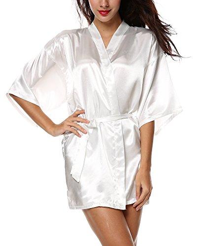 Yoliki Morgenmantel Damen Kimono Robe aus Satin Pyjama Unisex Bademantel Seide Schlafanzug