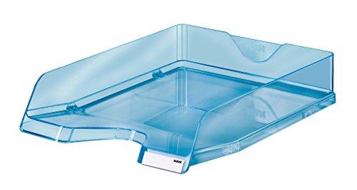 Han Portalettere Viva, DIN A4/C4, impilabile, lucide, con clip, confezione da pezzi Confezione da 5 blu trasparente