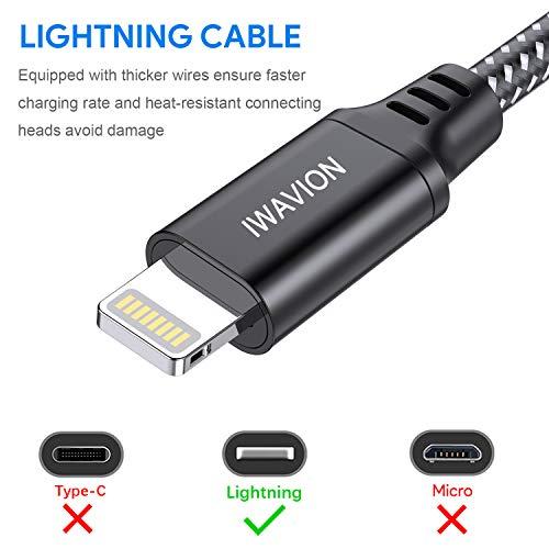 IWAVION Cable Lightning, 3ft/1m 4pack Cable iPhone Cargador iPhone Carga Rápida Nylon Trenzado Cable Lightning Compatible con iPhone XS MAX XR XS X 8 7 6 6S Plus SE 5S 5C 5,  iPad Mini/Air,  iPod