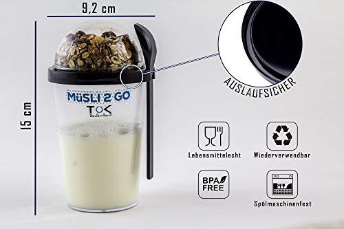 TOK Müslibecher 2 go/Joghurt to go Becher mit Löffel - komplett dicht, BPA frei, wiederverwendbar - Reise-Müsli-Becher für den gesunden Snack unterwegs - 450 ml Becher & 150 ml Deckel - Schwarz
