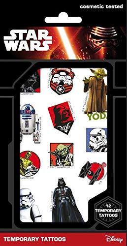 Star Wars Haut Tattoo - Yoda, Darth Vader, R2-D2, C3PO, Storm Trooper,....super als Mitgebsel für Partytüten, für Schultüte, Adventskalender oder Osterkörbchen (1 Bogen mit 12 Tattoos) (Star-wars-tattoos)