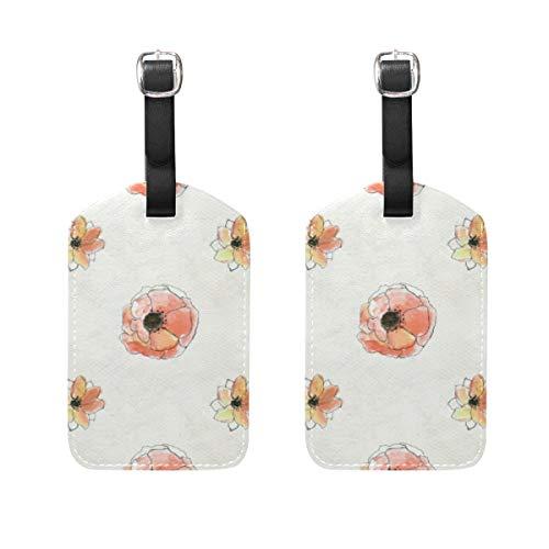 Hunde 2-stück Gepäck-set (Kofferanhänger für Gepäck Koffer 2 PCS Floral Leder Reisetasche Adressetiketten)