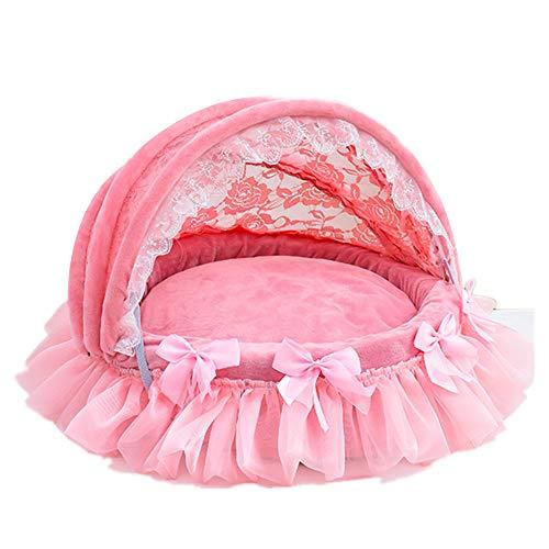 Hianiquaime pieghevole peluche letto morbido calda per animale domestico con cuscino lavabile principessa cane gatto rotonda casa rosa l
