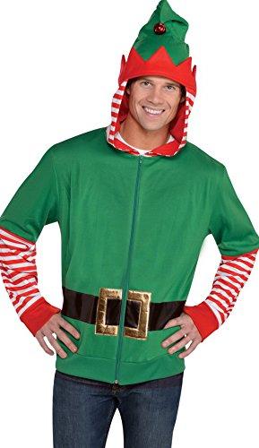 Zauberclown - Herren Kostüm Elfen Hoodie mit Kapuze, Grün, One (Kostüme Erwachsene Rentier Hoodie)