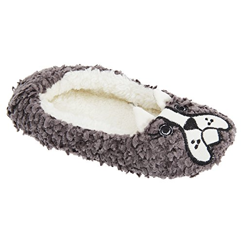 Pantofole in pile con cagnolino - Donna Grigio