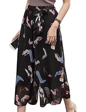 Yuanu Mujer Verano Cintura Alta Pierna Ancha Pantalones De Tobillo Suelto Tamaño Grande Pantalones Chifón Casual...