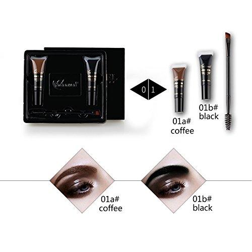 Ensemble de crème teintée à sourcils KAYI Ensemble de teinture crème à sourcils Noir et marron 2 couleurs avec brosse Doulbe-fin