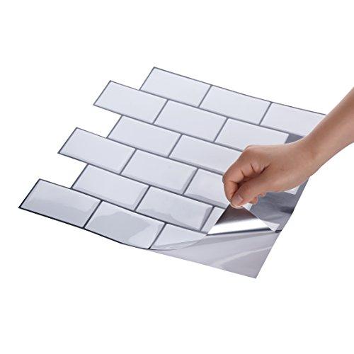 Wall Crafts® 3D Mosaik Fliesensticker selbstklebend 10 Stück für Küche Bad, Vinyl Fliesenfolie schwarz weiss grau Wandtattoo, 30,5 x 30,5cm Fliesen Aufkleber Folie Sticker Wanddeko - Mosaik Vinyl