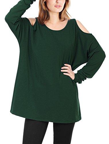 Allegra K Damen Kalte Schulter U-Ausschnitt Casual Pullover Herbst T Shirts Grün