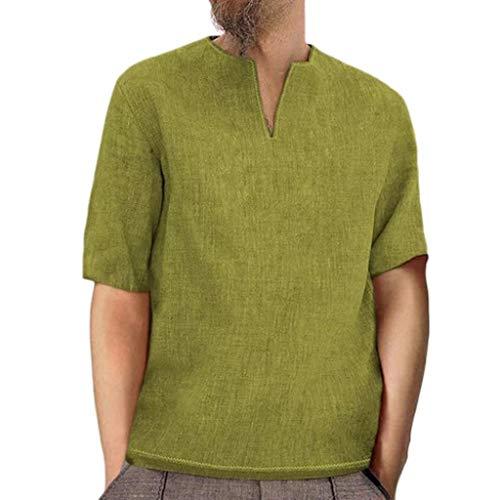 Robemon Herren-T-Shirt, Sommer, modisch, einfarbig, Baumwolle, Leinen, V-Ausschnitt, Kurzarm, Bluse, T-Shirt, lässig, atmungsaktiv, Slim Loose, komfortabel, atmungsaktiv, Bluse, Tops Gr. l, gelb -