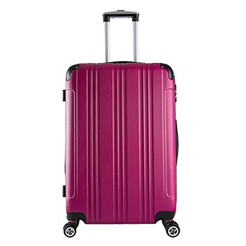 EUGAD #375 Reisekoffer Hartschale Koffer Trolley mit erweiterbare Volumen, Reise Koffer Trolley 4 Rollen, Hartschalenkoffer Handgepäck M/L/XL/Set, leicht und günstig, Pink (XL, 76 cm & 110 Liter)