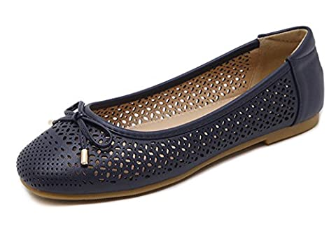 Minetom Women Summer Square Head Bow Comfortable Soft Hollow Out Carving Loafers Slip On Flat Shoes Girls Ballet Casual Blue UK 3.5